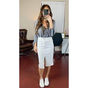 MCGUIRE DENIM Marino White Pencil Skirt